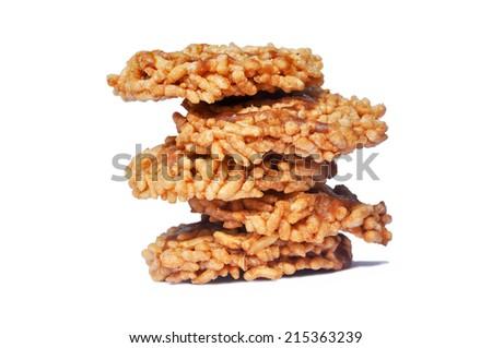 Thai Sweet Crispy Rice Cracker with Cane Sugar Drizzle. - stock photo