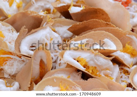 """Thai sweet pancakes, or """"Khanom Thangtaek""""?��? ��� is traditional Thai sweets both flavor and taste. It offers the original flavors including sweet, good smell as well as the unique appearance.  - stock photo"""
