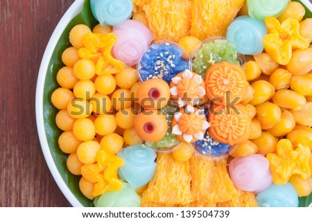 Thai sweets, or Khanom Thai?�, have unique, colorful appearance and distinct flavors. The art of Thai desserts have been passed down through the generations. - stock photo