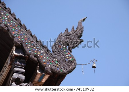 Thai temple. Decorated with Naga at the end of the roof. Wat Lok Molee, Chiang Mai, Thailand