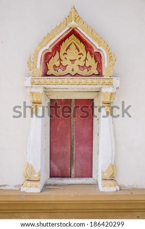 Thai temple door - stock photo