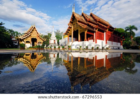 Thai temple in chiangmai, Thailand - stock photo