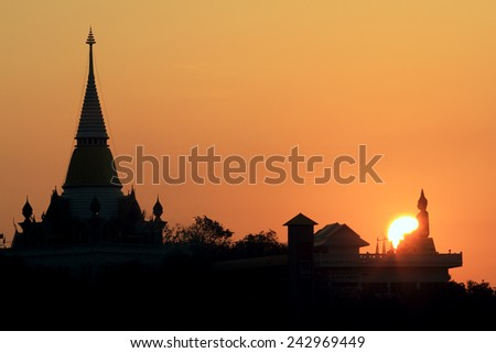 Thai temple in the morning - stock photo