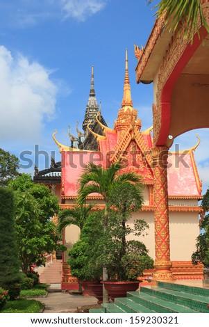 Thai temple named Xiem Can in Mekong delta Vietnam