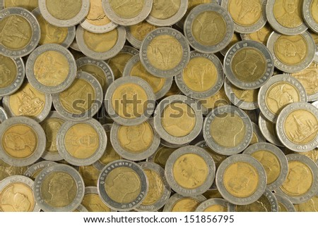 Thai ten baht Coins. - stock photo