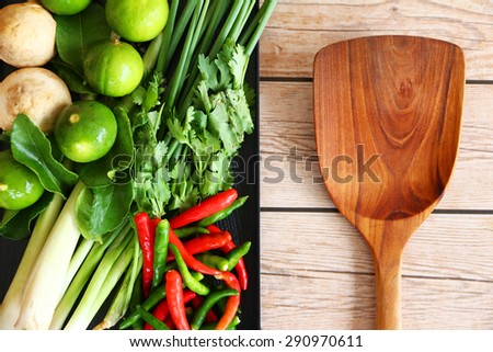 Thai Tom Yam soup herbs and spices. - stock photo
