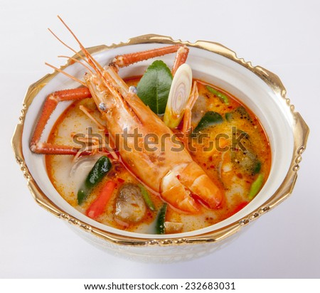 thai tom yum soup - hot and sour soup ,tom yum goong - stock photo