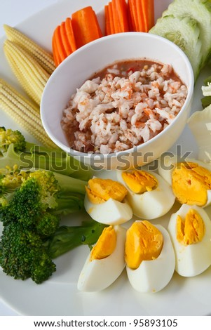 Thai traditional food, Spicy shrimp dip served with boiled egg and vegetable