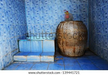 Thai traditional old toilet - stock photo