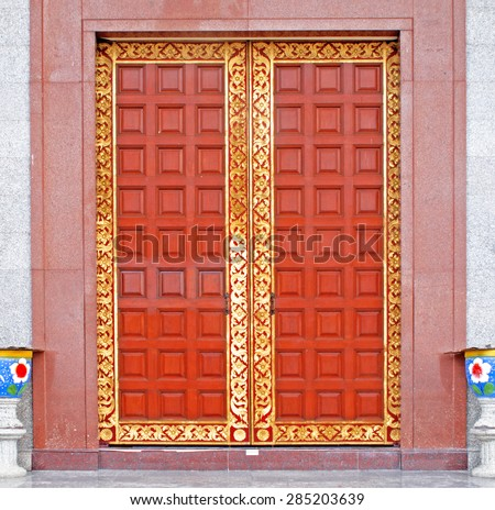 Thai traditional style door - stock photo