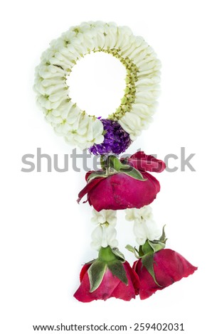 Thai Traditional Style of garland made from Roses and jasmine isolated on white background - stock photo
