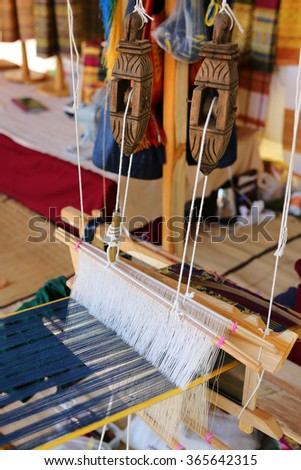Thai traditional style silk weaving