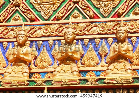 Thai traditional textured gate at Wat Thailand - stock photo