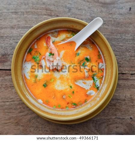 Thai traditional tom yam kung soup - stock photo