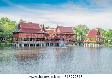 Thai traditional wooden house