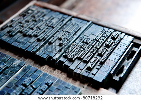 Thai typeset word  and type in letterpress - stock photo