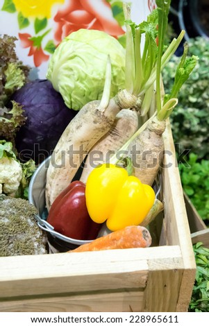 Thai vegetable in wooden box