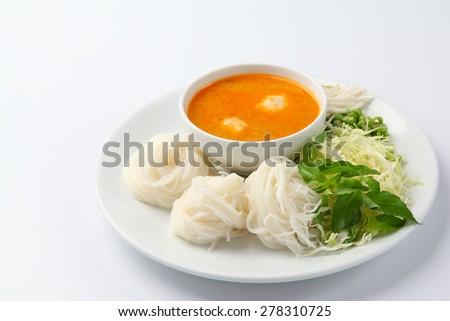 Thai vermicelli eaten with curry, Thai Food - stock photo