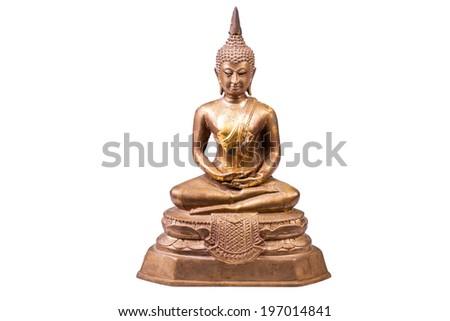 Thai Vintage  Buddha status isolated on white background. - stock photo