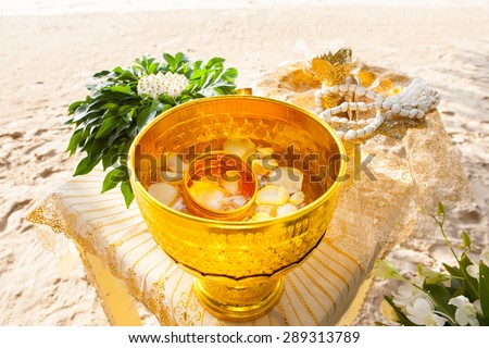 Thai wedding object  (Traditional Thai Wedding ceremony atmoshphere decoration and artifacts) - stock photo