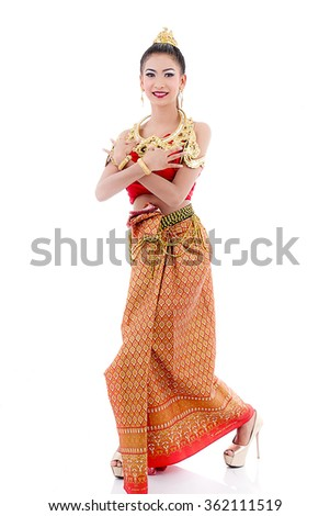 Thai Woman In Traditional Costume Of Thailand on white.