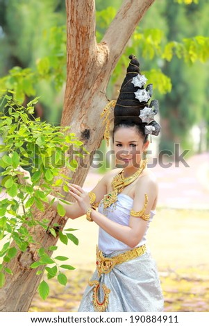 Thai Woman In Traditional dress of Thailand