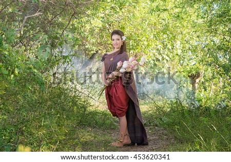 Thai woman,Thai culture traditional ,vintage style