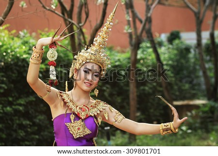 Thai women in national costume : thai dance - stock photo