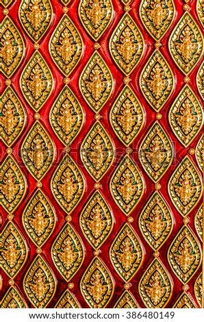 Thai wood carving, wood pattern and handmade - stock photo