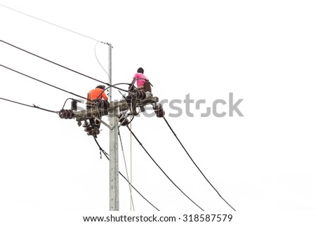 Thai worker on electric pole for install new cable isolated on white background