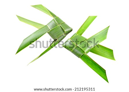 Thai woven coconut leaves fish isolated on a white background - stock photo