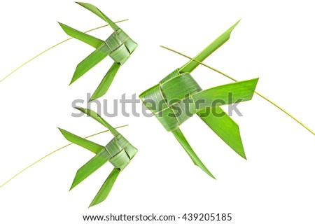 Thai woven coconut leaves fish on a white background - stock photo
