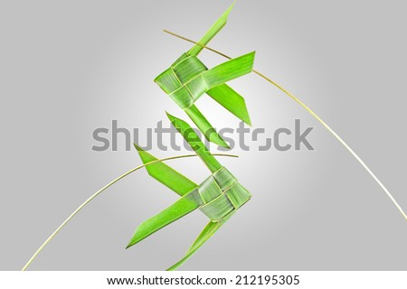 Thai woven coconut leaves fish on white and gray background - stock photo