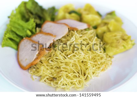 thai yellow noodle with background