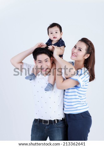 Thai young family smiling with happily isolated