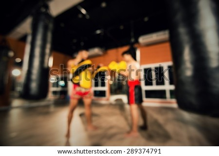 ThaiBoxing Gym match abstract blur sports background - stock photo