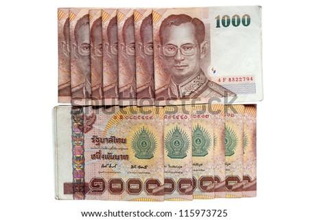 Thail money arranged in Set, isolated on white background. - stock photo