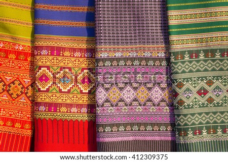 Thailand ancient fabric - stock photo