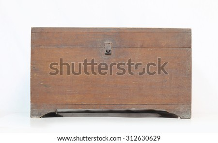 Thailand ancient wooden chest on a white background. - stock photo