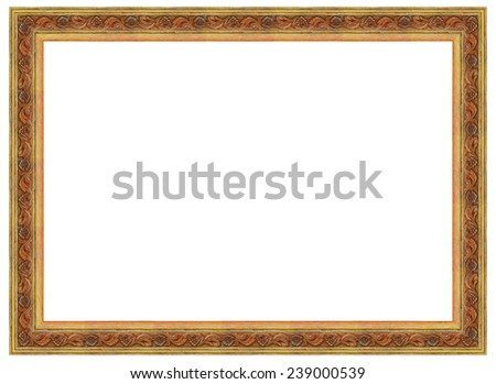 Thailand antique gold picture frames  isolated on white backgrou