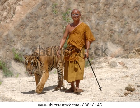 THAILAND - APRIL 26: Buddhist monk with a bengal tiger on April 26 2007, Kanchanaburi, Thailand - stock photo