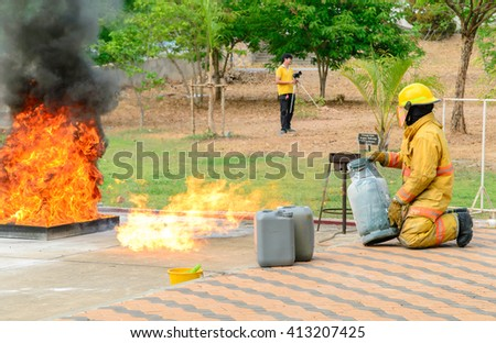 THAILAND,APRIL 2016 22:Fire training by a firefighter who carefully at Synchrotron Light Research Institute Nakhonratchasima,thailand