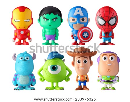 THAILAND, April 2014 : Heroes figurine isolated on white background : Marvel + Disney Pixar figurine toy pen collection in marketing campaign from Tesco Lotus Express.  - stock photo