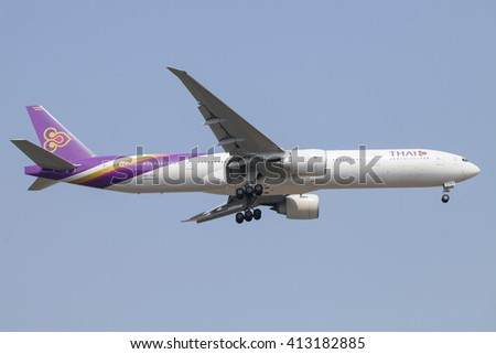 THAILAND - APRIL 20: Thai airways Commercial airline are flying in the sky Transport tourists from Phuket and Landing at  Suvarnabhumi airport in Bangkok Thailand on 20 April 2016. - stock photo