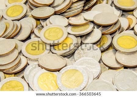 Thailand Baht coins. - stock photo