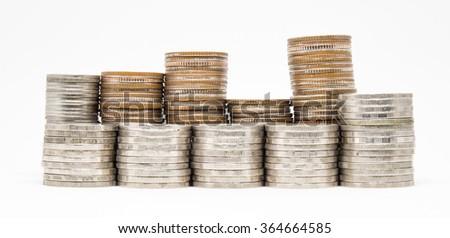 Thailand Baht coins arranged on a white background. - stock photo