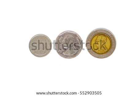 Thailand baht coins isolated over white background