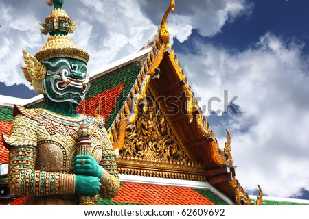 Thailand, Bangkok: Grand palace; statue of a demon, the famous thai name of the ten headed demon king; a mythological figure of the indian epic ramayana