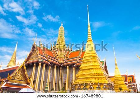Thailand, Bangkok, The Wat Phra Kaew ( Temple of the Emerald Buddha), famous for golden pagoda. - stock photo