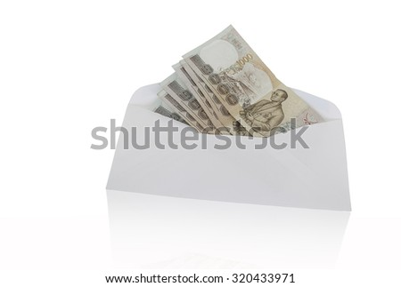 Thailand banknote bribe, white background. Focus on banknotes. - stock photo